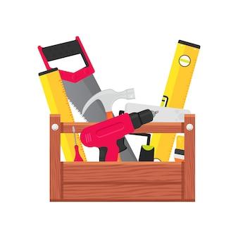 Boîte à outils avec matériel de service constructeur.