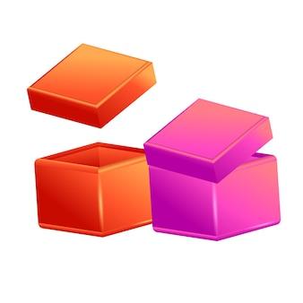 Boîte ouverte en carton réaliste, vue latérale, ensemble de coffrets cadeaux 3d réalistes.