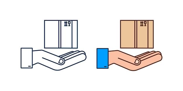 Boîte ouverte de colis de carton dans des mains. symbole de livraison d'expédition. icône de boîte-cadeau. illustration vectorielle de stock.