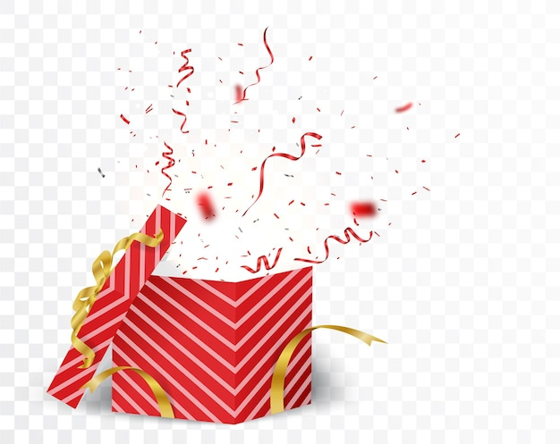 Boîte ouverte avec des confettis or et rouge isolés
