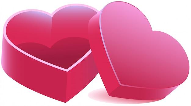 Boîte ouverte en forme de coeur rose