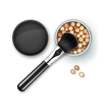 Boîte ouverte de perles bronzantes avec boules noires cap rouge