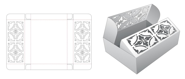 Boîte à ouverture centrale avec motif au pochoir sur flips modèle découpé