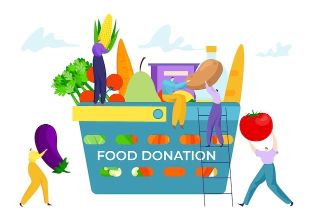 Boîte de panier avec concept de don de nourriture