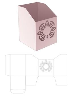 Boîte de papeterie en carton avec modèle de découpe de mandala steciled