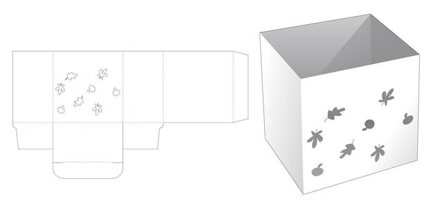 Boîte de papeterie avec gabarit de découpe d'automne au pochoir