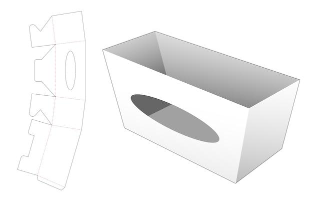 Boîte de papeterie avec gabarit de découpe de fenêtre