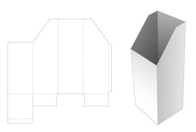 Boîte de papeterie haute chanfreinée avec gabarit de découpe de fenêtre