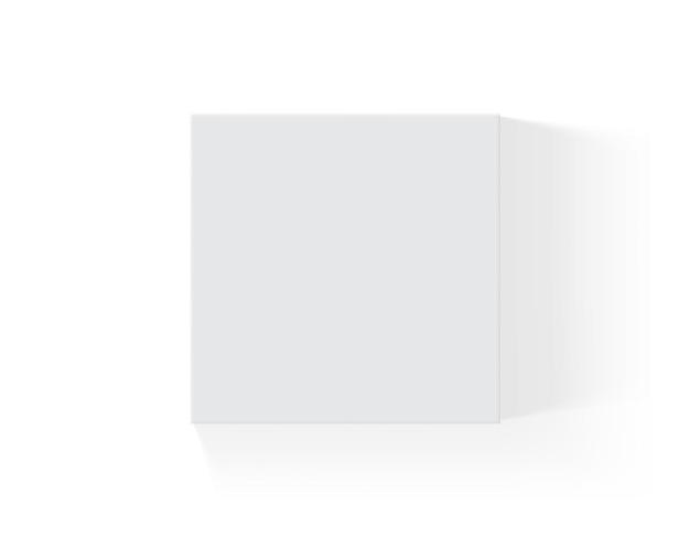 Boîte de papier blanc isolé sur fond blanc
