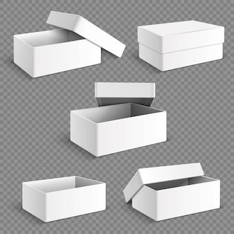 Boîte de papier d'emballage blanc vierge avec ensemble isolé d'ombres douces transparentes.
