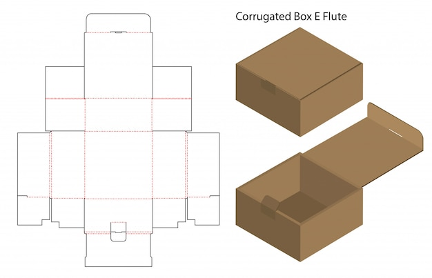 Boîte de papier ondulé coupé avec 3d maquette