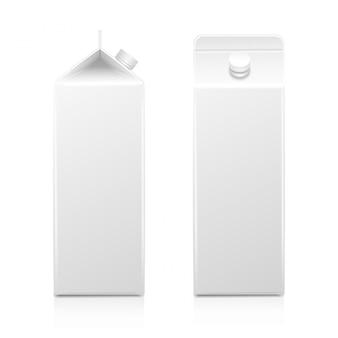 Boîte de paquet d'emballage de jus de lait blanc, blanc, isolé