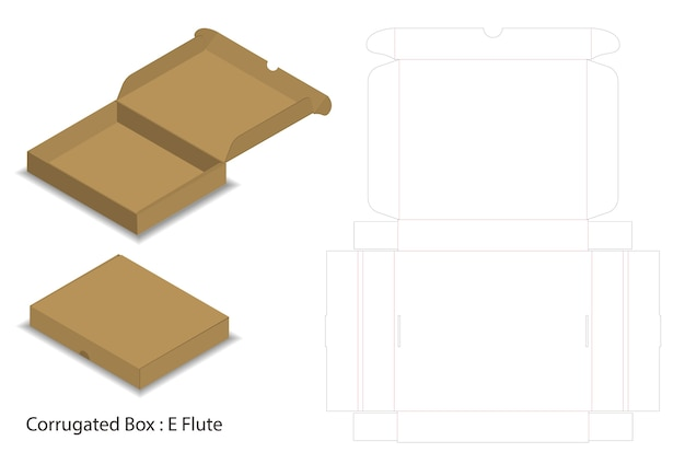 Boîte à pizza en carton ondulé coupé avec maquette