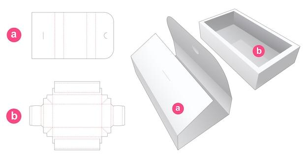 Boîte à plateaux avec couvercle enveloppé gabarit découpé