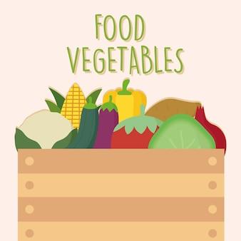 Boîte pleine de légumes frais