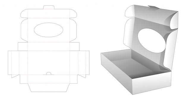 Boîte pliante en carton avec fenêtre ellipse gabarit