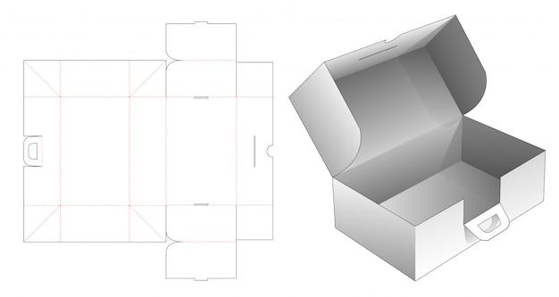 Boîte pliante en carton avec poignées gabarit découpé