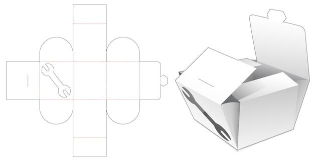 Boîte pliante avec gabarit de découpe de fenêtre d'outil à main