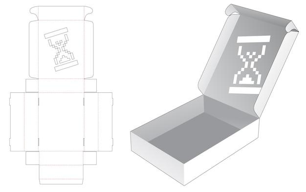 Boîte pliante avec sablier au pochoir dans un style pixel art sur un modèle de découpe à l'emporte-pièce