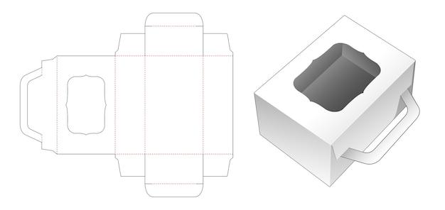 Boîte à poignée en carton avec gabarit de découpe de fenêtre