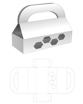 Boîte de poignées en carton avec fenêtre hexagonale modèle découpé