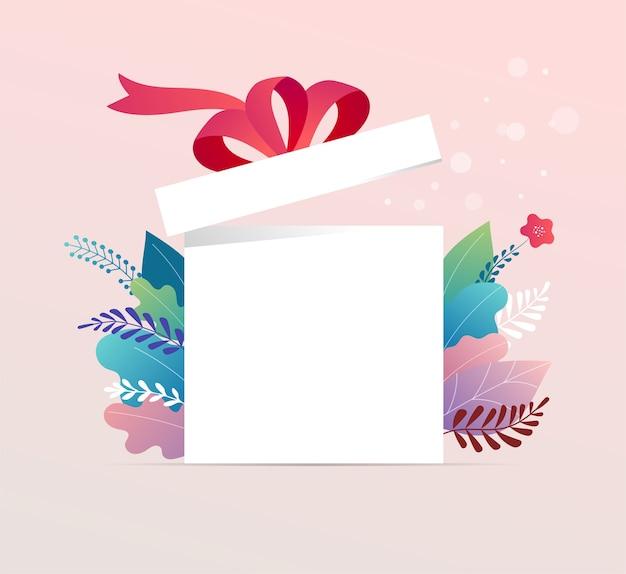 Boîte porte-bonheur, boîte cadeau blanche ouverte avec ruban rouge. conception de concept de vente, promotion de l'offre.