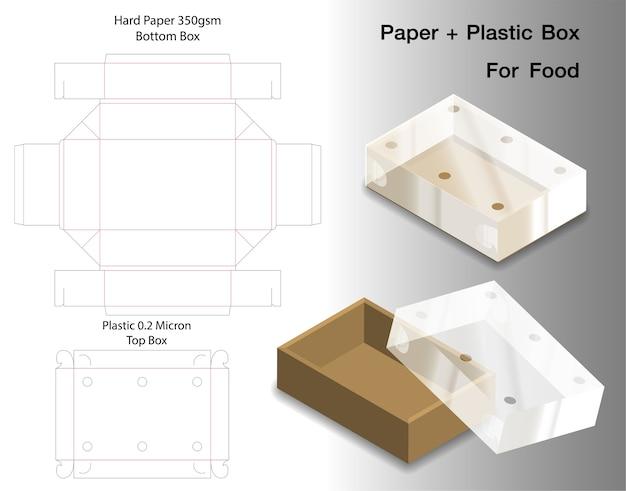 Boîte pour aliments avec fenêtre en plastique découpée maquette