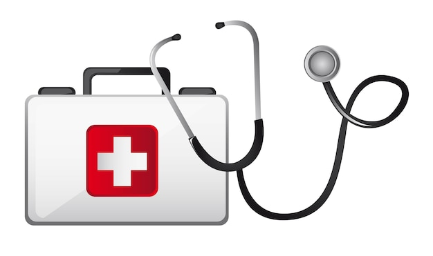 Boîte de premiers soins avec stéthoscope isolé