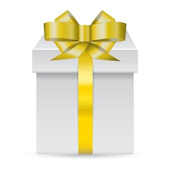 Boîte présente de vecteur décorée de ruban d'or isolé sur fond blanc.