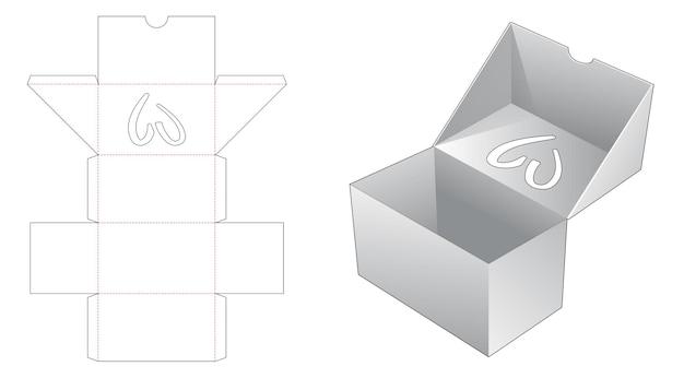 Boîte à rabat avec fenêtre en forme de cœur sur le dessus du modèle de découpe à rabat
