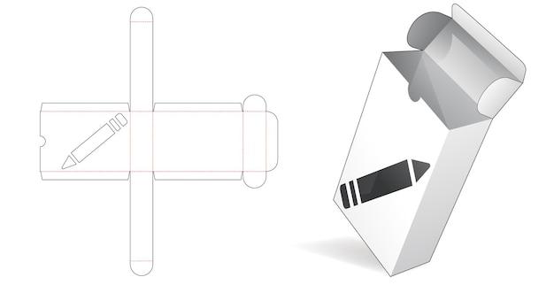 Boîte à rabat avec gabarit de découpe de fenêtre de crayon
