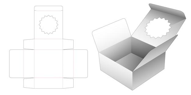Boîte à rabat avec gabarit découpé à la forme d'étoile à plusieurs branches