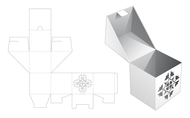 Boîte à rabat et verrouillée avec modèle découpé au pochoir caché