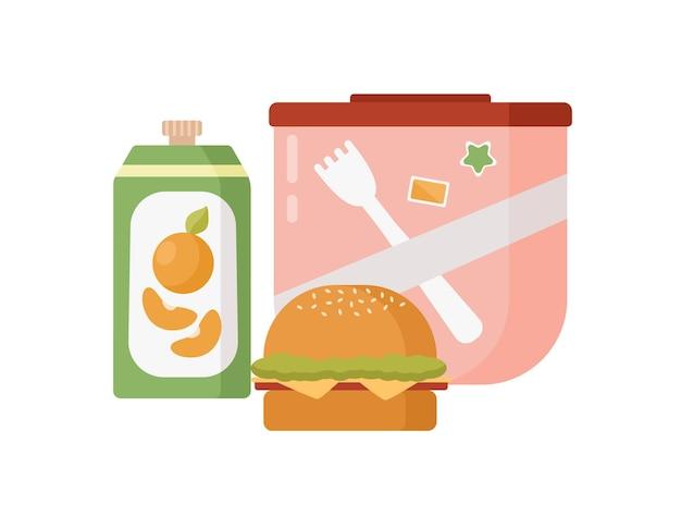 Boîte de rangement colorée de dessin animé avec illustration plate de vecteur de déjeuner scolaire. hamburger coloré de nourriture savoureuse, boisson et contenant de conservation isolé sur fond blanc. boîte à lunch de repas sains.