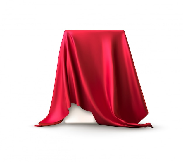 Boîte réaliste recouverte de tissu de soie rouge.