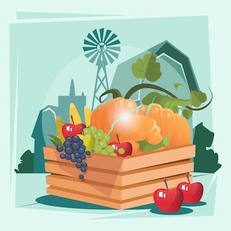 Boîte avec récolte de légumes eco farmland background