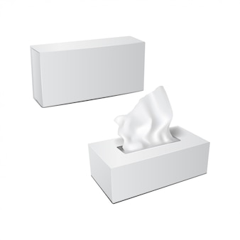 Boîte rectangulaire blanche avec serviettes en papier. ensemble d'emballage réaliste