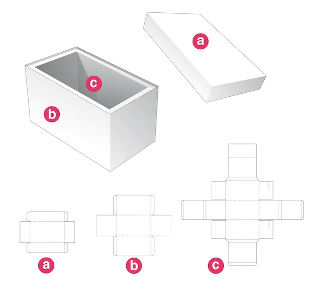 Boîte rectangulaire avec couvercle et gabarit de support découpé