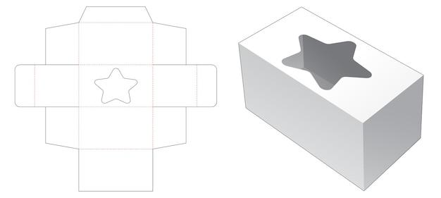 Boîte rectangulaire avec gabarit de découpe de fenêtre en forme d'étoile