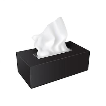 Boîte rectangulaire noire avec serviettes en papier.