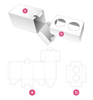Boîte rectangulaire avec point de verrouillage et gabarit de découpe d'insert support