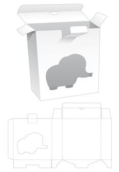 Boîte rectangulaire à point verrouillé avec fenêtre en forme d'éléphant gabarit découpé