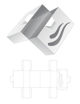 Boîte rectangulaire à rabat avec modèle de découpe d'icône de vague au pochoir