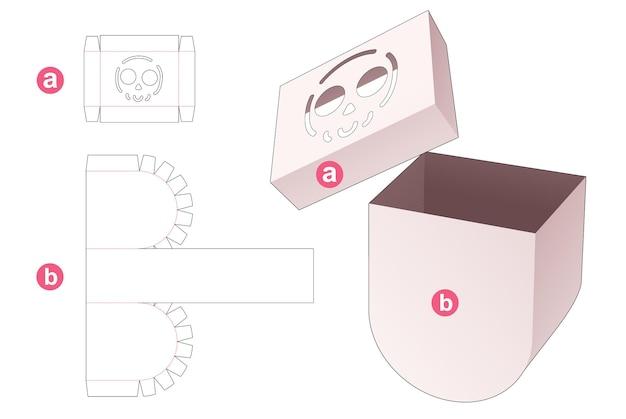 Boîte ronde à fond en carton avec couvercle qui a un gabarit découpé au pochoir en forme de crâne