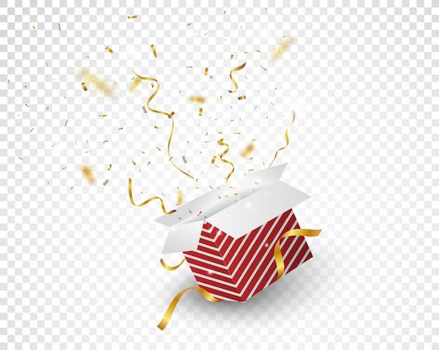 Boîte rouge ouverte avec explosion de confettis d'or