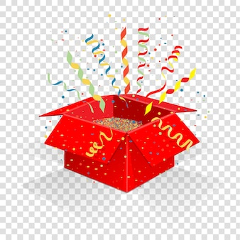 Boîte rouge avec serpentine et confettis.