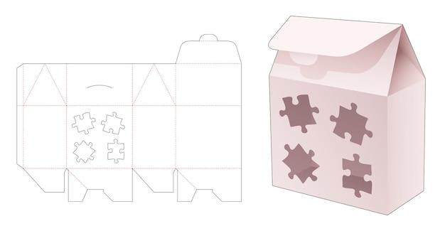 Boîte de sac à rabat avec gabarit de découpe de fenêtre en forme de scie sauteuse