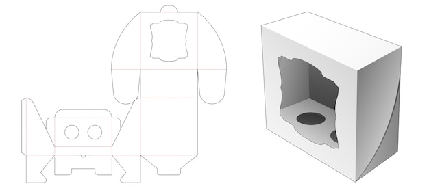 Boîte avec support d'insertion et gabarit de découpe de fenêtre