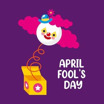 Boîte surprise du jour du poisson d'avril avec clown. illustration