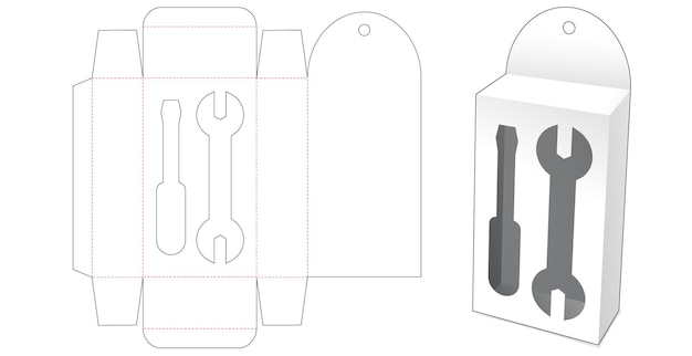 Boîte à suspendre en carton avec gabarit de découpe de fenêtre d'outils à main